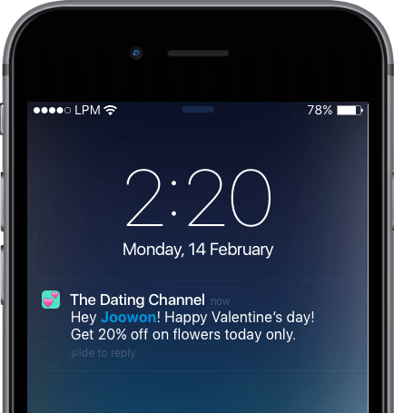 Mobile Phone - The Dating Channel - Happy Valentine's Day | Leanplum
