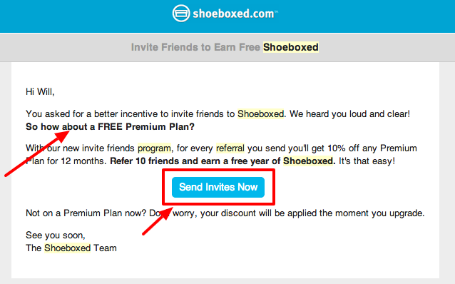 Customer referral program email blast