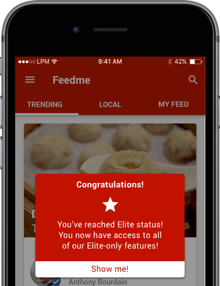 Mobile App Use Cases - Feedme - Elite Status | Leanplum