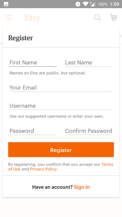 app engagement etsy registration
