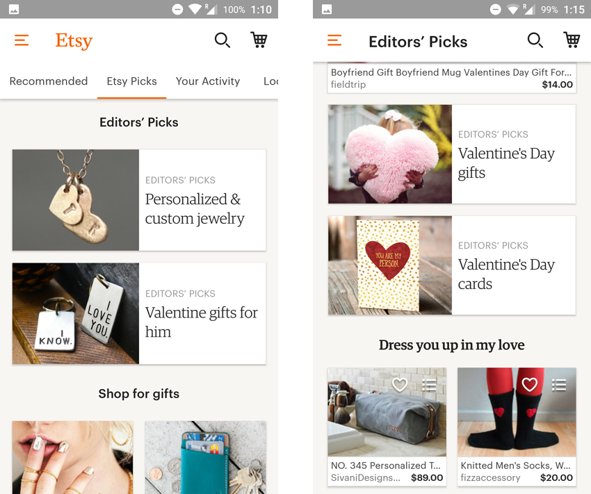 app engagement etsy user feed